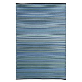 Blue Polypropylene Stripe Indoor Outdoor Reversible Area Rug (6'x9')