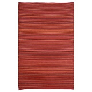 Red/Multicolor Polypropylene Stripe Indoor Outdoor Reversible Area Rug (4' x 6')