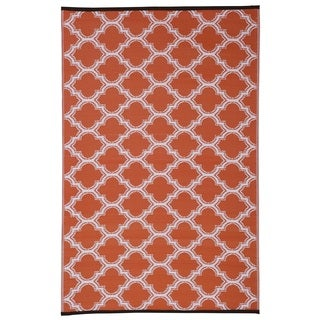 Orange/White Trellis Indoor/Outdoor Reversible Area Rug (6' x 9')