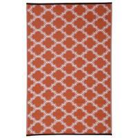 Orange/White Trellis Indoor/Outdoor Reversible Area Rug - 6' x 9'