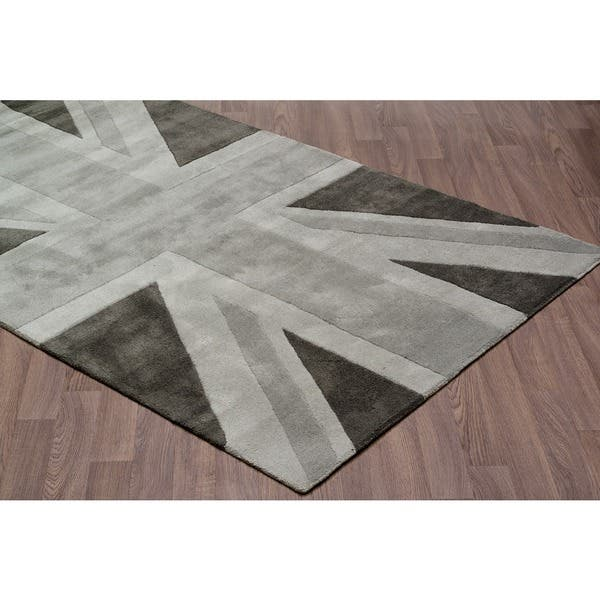 Union Jack Grey Wool Rug 4 10 X 7 Free Shipping