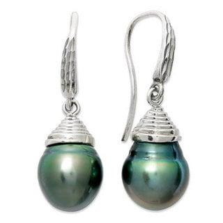 Pearl Lustre White Sterling Silver Black Tahitian Pearl South Sea Earrings