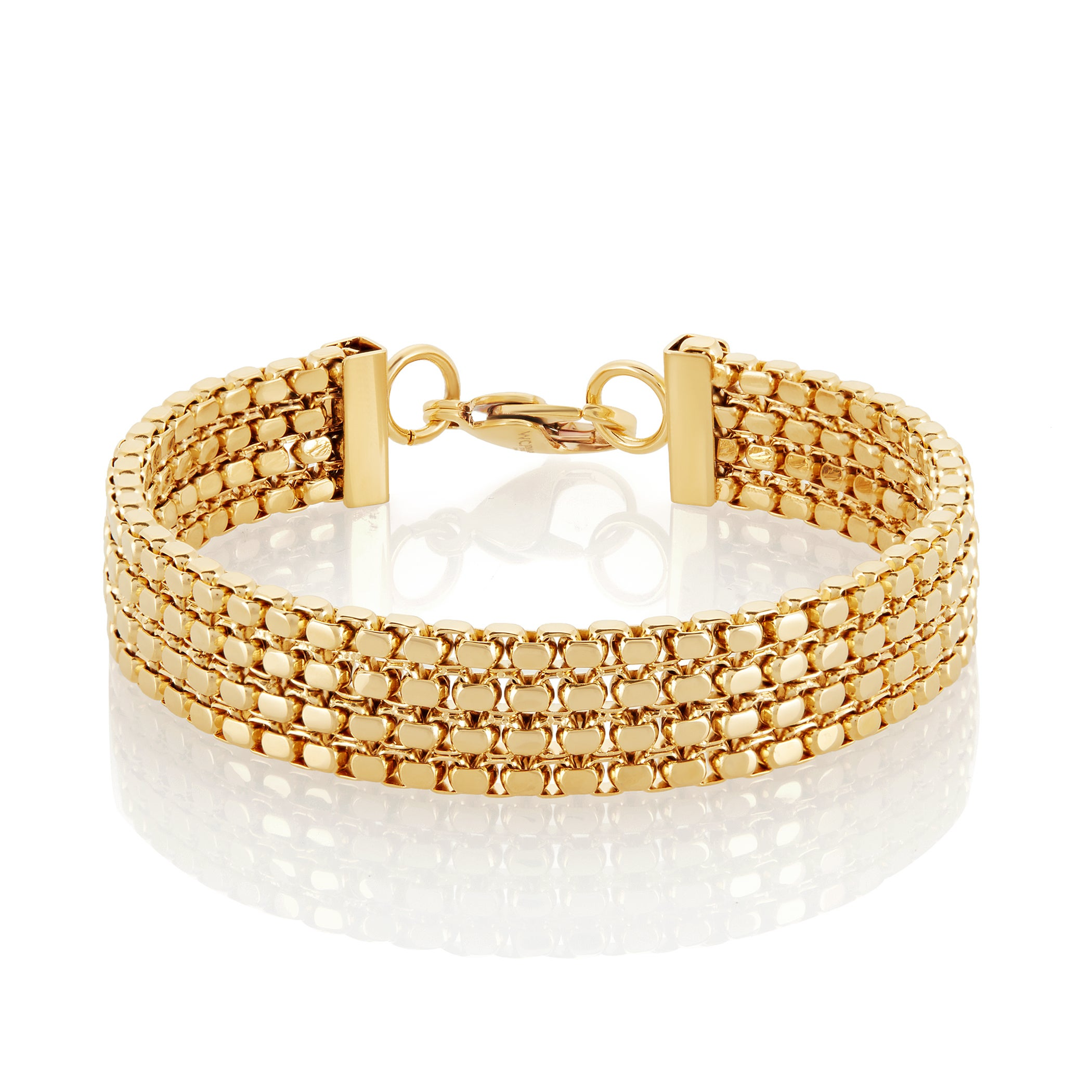 West Coast High Polish Gold Plated Box Chain Stainless St...