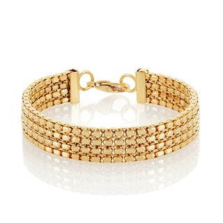 High Polish Gold Plated Box Chain Stainless Steel Bracelet