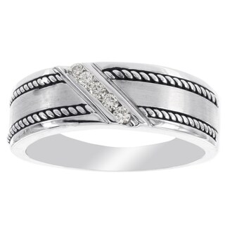 H Star 10k White Gold 1/10-carat Diamond Men's Wedding Band
