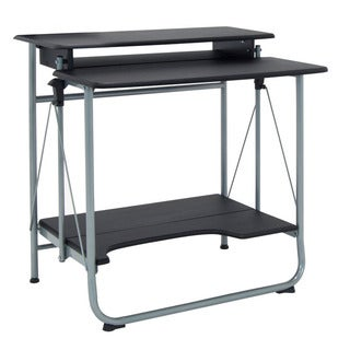 Offex Black and Silver Metal Stow-away Home Office Folding Desk