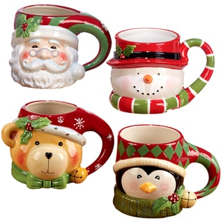 Certified International Santa Snowman, Penguin, and Bear 3D Figural Mugs (Pack of 4)