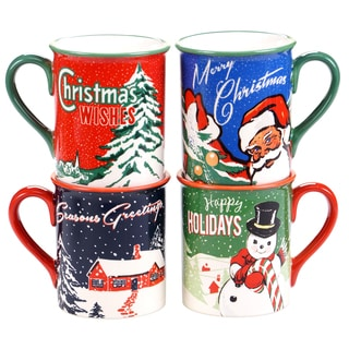 Certified International Retro Christmas 16-ounce Mugs with Assorted Designs (Pack of 4)