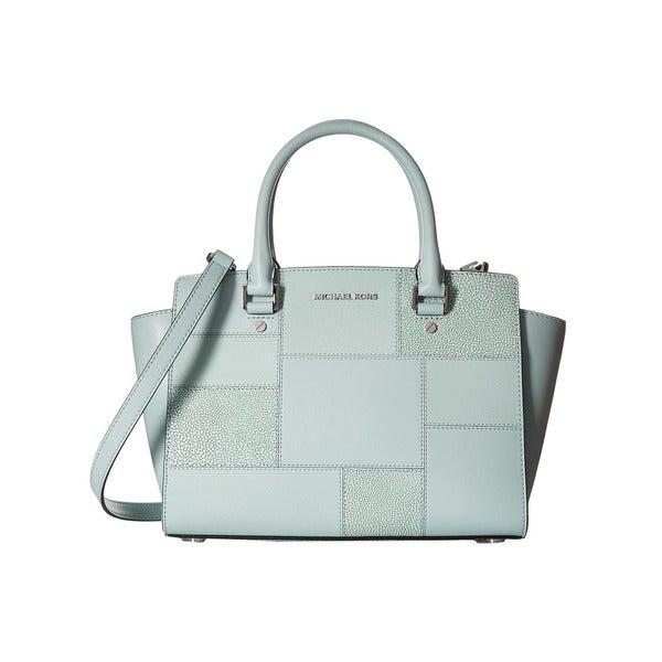 shop michael kors selma celedon medium top zip satchel handbag rh overstock com