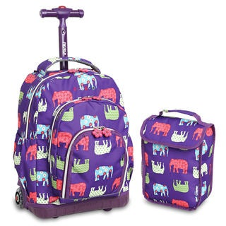 J World Lollipop Elephant 2-piece Rolling Backpack and Lunch Bag Set
