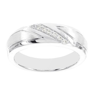 H Star 10k White Gold 1/7-carat Diamond Men's Wedding Band