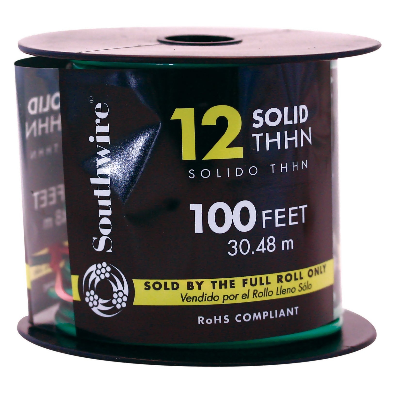 Southwire 11591538 100' 12 Gauge Green Thhn Solid Wire (C...