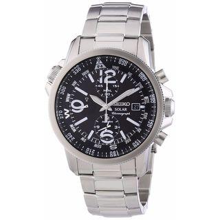 Seiko Men's SSC075P1 Solar Black Dial Stainless Steel Chronograph Watch