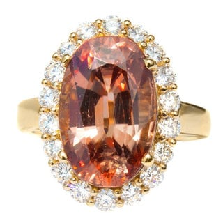 California Girl Jewelry Yellow Gold Peach Zircon & Diamond Accent Ring