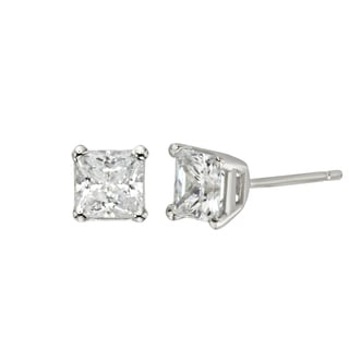 H Star Sterling Silver Princess-cut Diamagem Earrings