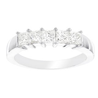 H Star 14k White Gold 1ct Diamond Princess Cut Ring (I-J, I2-I3)