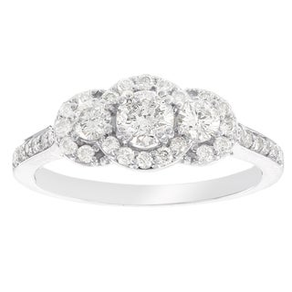 H Star 14k White Gold 7/8ct Diamond Halo Engagement Ring (I-J, I2-I3)