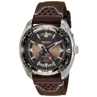 Seiko Men's Stainless Steel Kinetic GMT Watch with a Black Dial/ Power Reserve/ Date Window