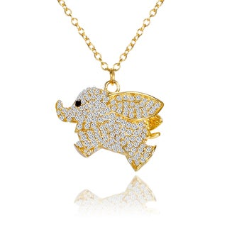 18k Gold over Brass With Crystal Accents Flying Elephant Pendant Necklace