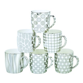 Certified International Elegance Silver-plated Assorted Design Barrel Mugs (Pack of 6)