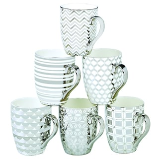 Certified International Elegance  Silver-plated Tapered Mugs with Assorted Designs (Pack of 6)
