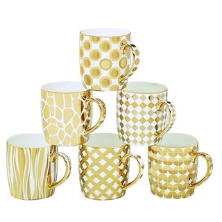 Certified International Elegance Goldplated Barrel Mugs with Assorted Designs (Pack of 6)