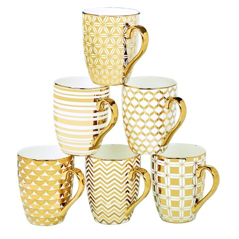 Certified International Elegance Goldplated Tapered Mugs with Assorted Designs (Pack of 6)