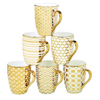 Certified International Elegance Goldplated Tapered Mugs with Assorted Designs (Pack of 6) https://ak1.ostkcdn.com/images/products/12071261/P18938943.jpg?impolicy=medium
