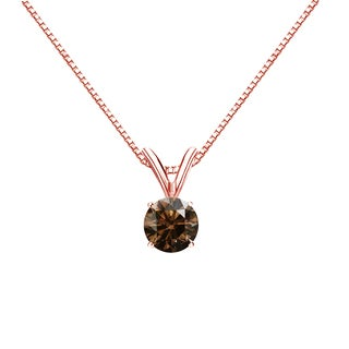 Auriya 14k Gold 1/3ct TDW Round-Cut Brown Diamond Solitaire Necklace (Brown, SI1-SI2)