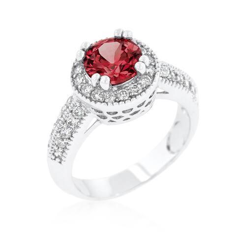 Kate Bissett Garnet Halo Engagement Ring - Red