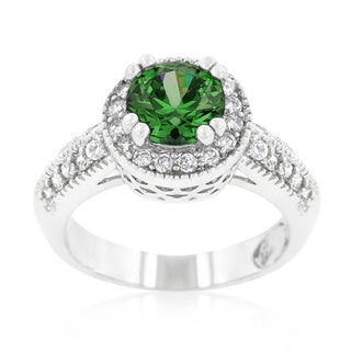 Kate Bissett Emerald Halo Engagement Ring