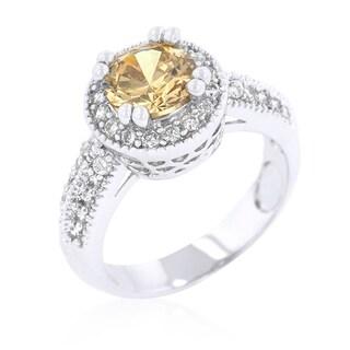 Kate Bissett Champagne Halo Engagement Ring - Orange