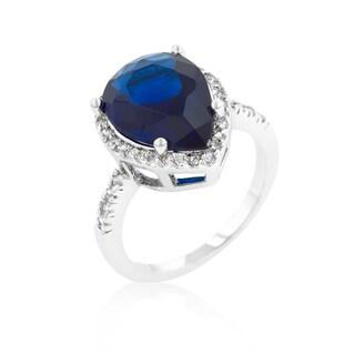 Kate Bissett Sapphire Cubic Zirconia Drop Ring - Blue