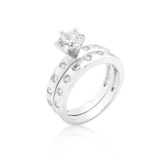 Kate Bissett White Platinum Overlay Cubic Zirconia Bezel Set Round-cut Bridal Ring Set
