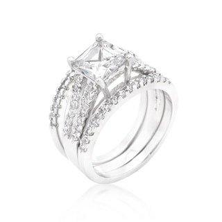 Kate Bissett White Plaintum Overlay Princess-cut Cubic Zirconia Triple Bridal Set