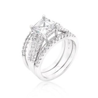 Kate Bissett White Plaintum Overlay Princess-cut Cubic Zirconia Triple Bridal Set
