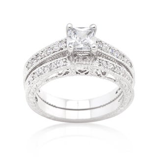 Kate Bissett Brass Cubic Zirconia Princess Cut Filigree Bridal Ring Set