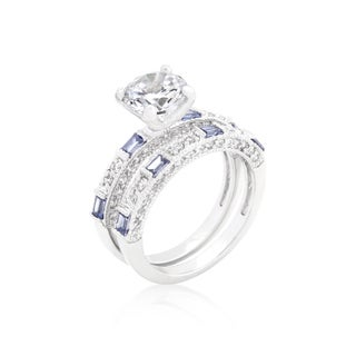 Kate Bissett Clear and Tanzanite Cubic Zirconia Ring Set