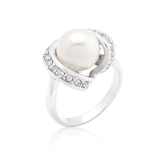 Kate Bissett Brass Cubic Zirconia Single Pearl Cocktail Ring
