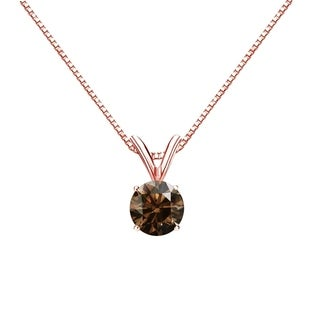 Auriya 14k Gold 1/2ct TDW Round-Cut Brown Diamond Solitaire Necklace (Brown, SI1-SI2)