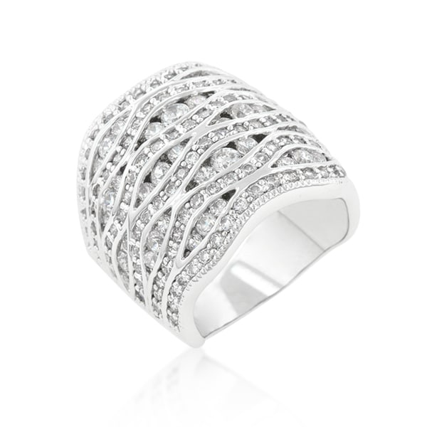 Kate Bissett Cubic Zirconia Pave Abstract Ring - White