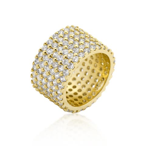 Kate Bissett Goldtone Finishd Wide-pave Cubic Zirconia Ring - White