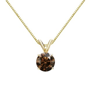 Auriya 14k Gold 3/4ct TDW Round Cut Brown Diamond Solitaire Necklace (Brown, SI1-SI2)