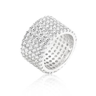 Kate Bissett Silvertone Finishd Wide Pave Cubic Zirconia Ring