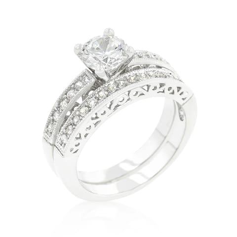 Kate Bissett Filigree Engagement Set - White