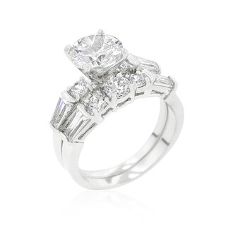 Kate Bissett Engagement Set with Large Center Stone - White