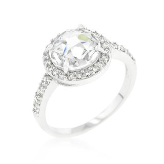 Kate Bissett Halo Style Faceted Cubic Zirconia Engagement Ring - White