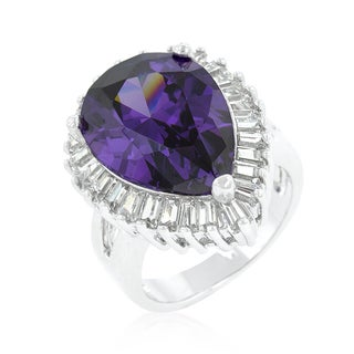 Kate Bissett Platinum Overlay Purple and Clear Cubic Zirconia Cocktail Ring