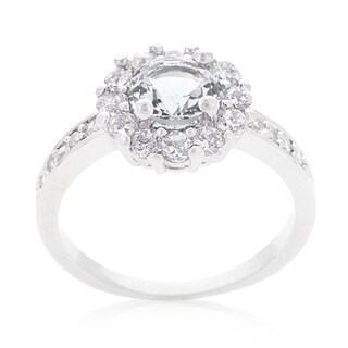 Kate Bissett Bella Platinum Overlay Cubic Zirconia Clear Birthstone Engagement Ring