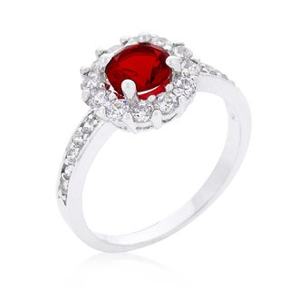 Kate Bissett Ruby Red Halo Engagement Ring